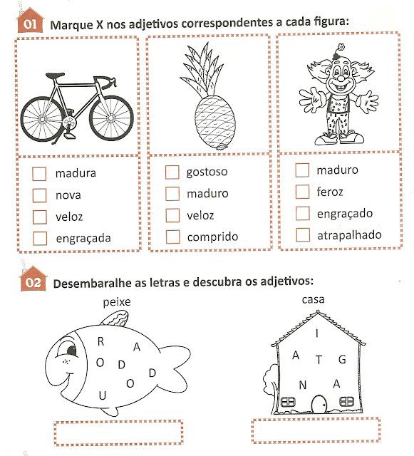 Exercícios adjetivos ensino fundamental para imprimir