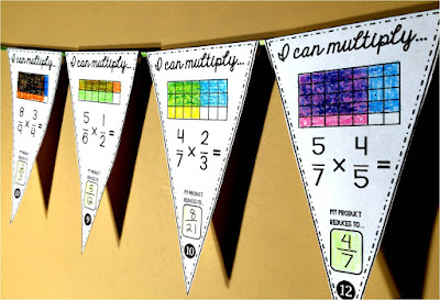 fraction multiplication Math pennant