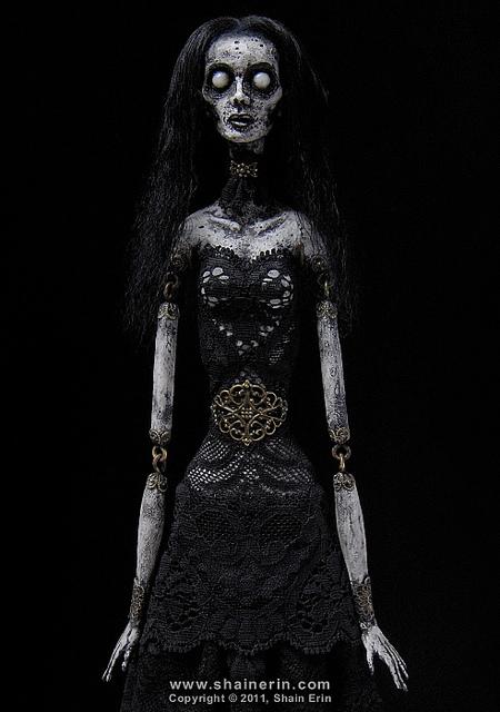 horrorosa,boneca,pano,caveira,preto,rock,gotico,art,feia