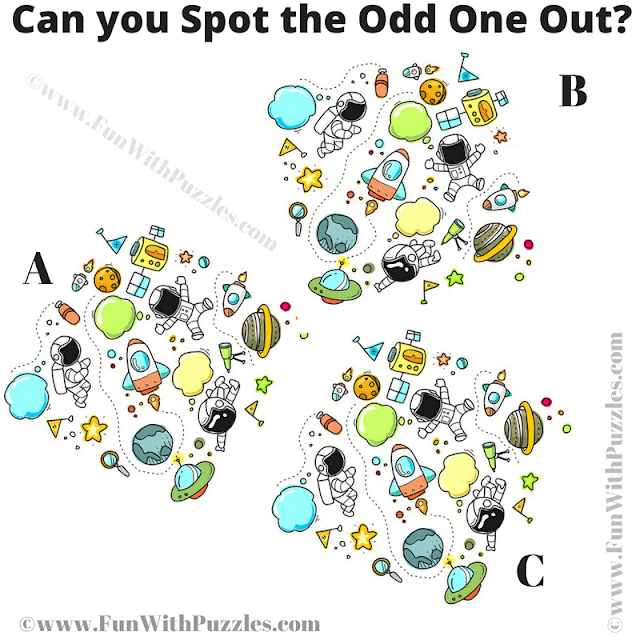 It is very hard picture riddle in which you have to find the odd one out among the three given puzzle images