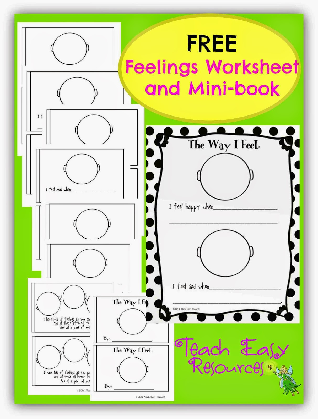 Classroom Freebies Too Feelings Worksheet And Mini Book For Pre K To 1