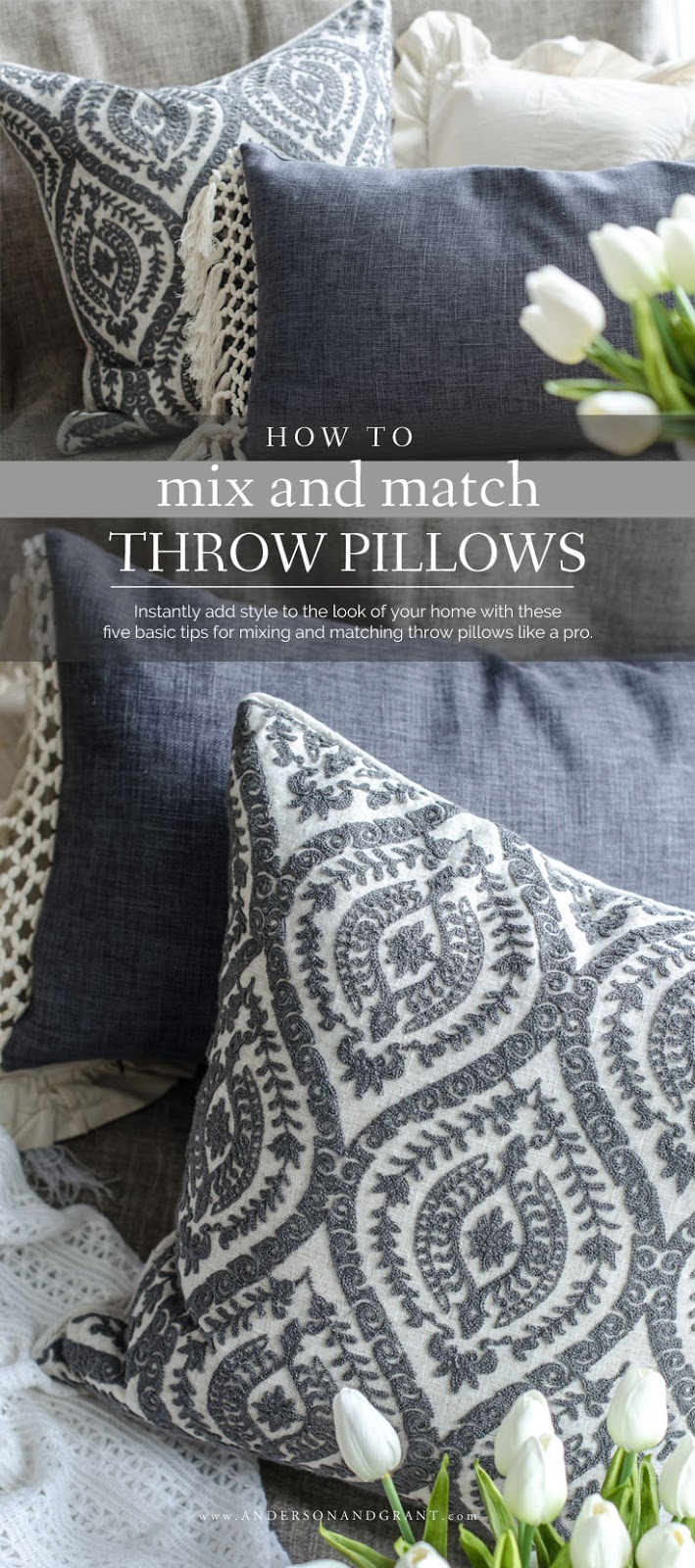 Wondering how to coordinate throw pillows for your living room decor? Check out this post filled with tips! #pillows #decorating #decoratewithpillows #andersonandgrant