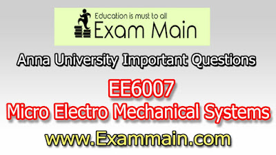 EE6007 Micro Electro Mechanical Systems