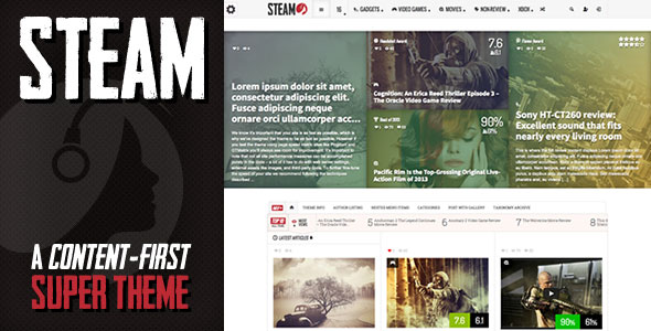 Free Download Steam V1.11 Responsive Retina Review Magazine Wordpress Theme