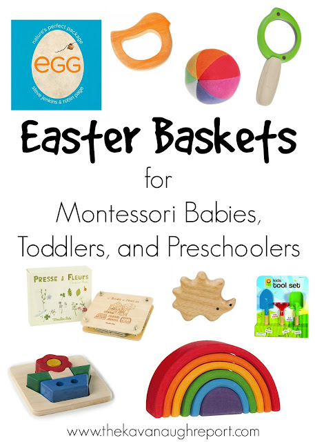 Montessori friendly Easter basket ideas for babies, toddlers and preschoolers.