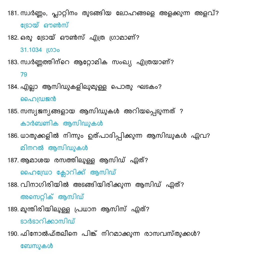 General Science Questions and Answers (Malayalam) - Set 10 ...