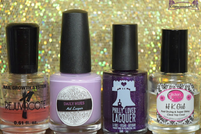 Duri Rejuvacote, Daily Hues Nail Lacquer Limited Edition #18, Philly Loves Lacquer Shy Violet (LE), Glisten & Glow HK Girl Fast Drying Top Coat
