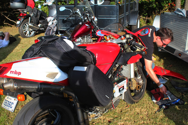 Broken down Ducati 916 motorcycle
