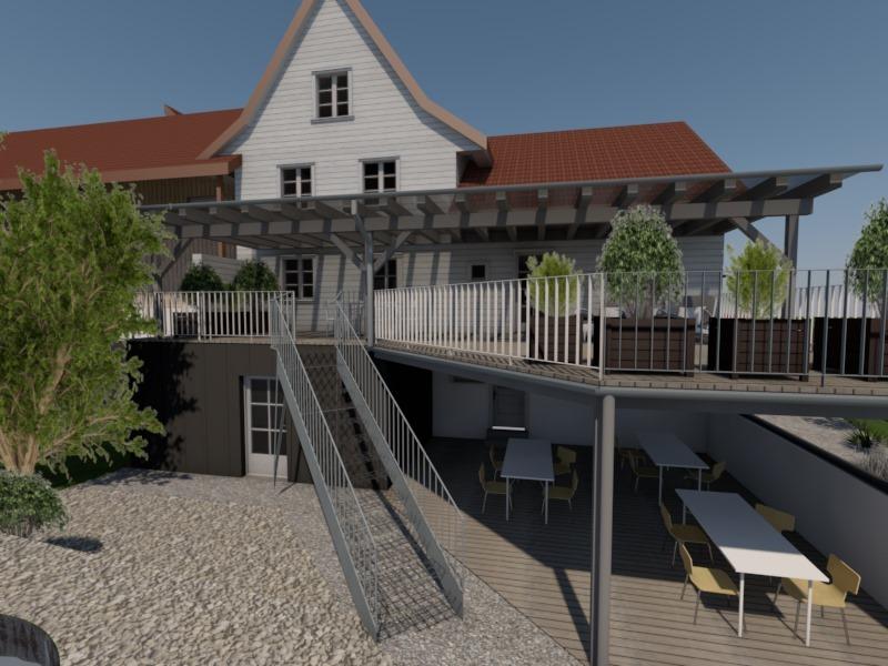 ersatz balkon anbau veranda mit aussensitzplatz und holzschopf. Black Bedroom Furniture Sets. Home Design Ideas