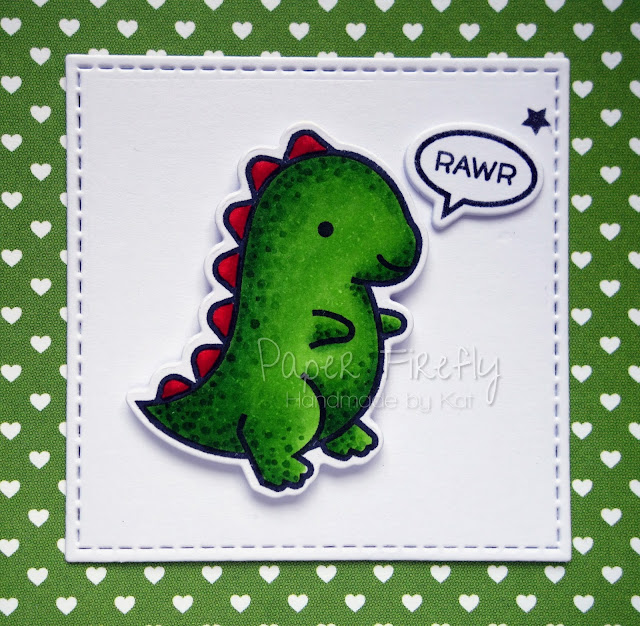 Cute punny Valentine's Day card with adorable dinosaur (image is Rawr! from Lawn Fawn)