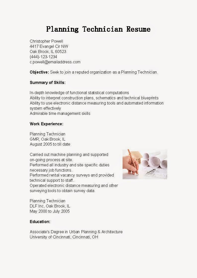 resume samples  planning technician resume sample