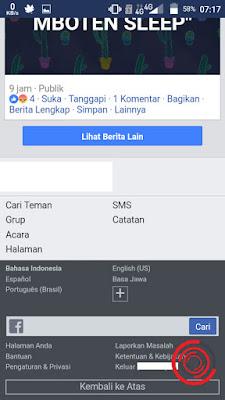 Cara berikutnya yaitu melihat pesan masuk kotak masuk dukungan FB lewat browser, caranya sama seperti di FB Lite yaitu kalian pilih menu Bantuan terlebih dahulu