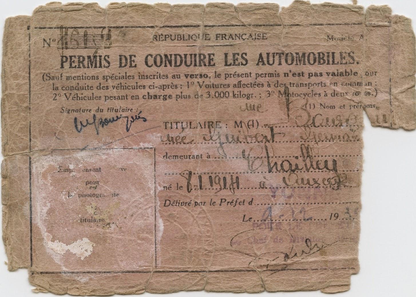 Histoires De Familles Permis De Conduire En 1935