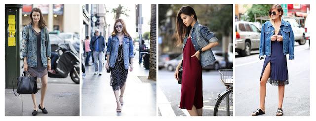 Платье-комбинация с джинсовой курткой