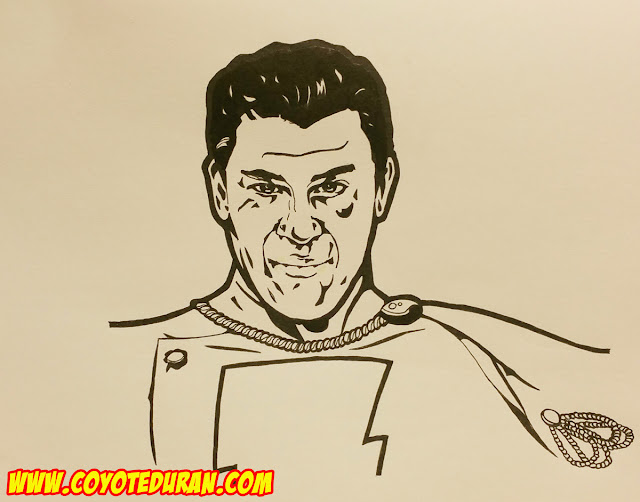 Sketchbook Chronicles No. 6: Christian Kane as Captain Marvel (Shazam), Micron pen and Pentel Pocket Brush Pen on sketch paper, July 2016 by Coyote Duran