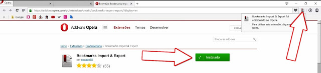Instalado o Add-on Bookmarks Import & Export de Martin Sermak para o Opera Browser