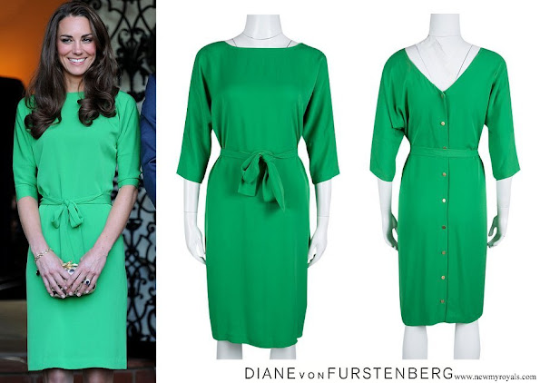 Duchess of Cambridge, Kate Middleton wore Diane Von Furstenberg Green Silk Long Sleeve Belted Maja Dress