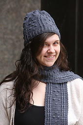 http://www.ravelry.com/patterns/library/puffed-lines-beanie-and-scarf-set