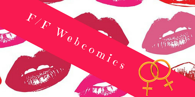 F/F Webcomics title image with lipstick/lips background, and two interlocked venus/feminine symbols in the corner