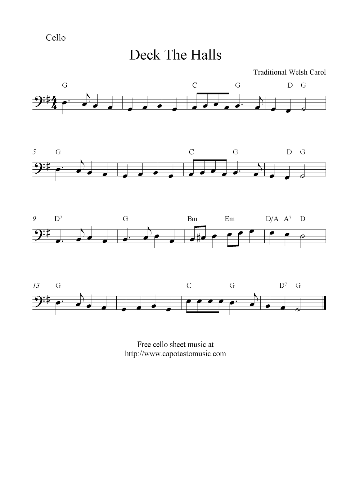 Deck The Halls, free Christmas cello sheet music notes