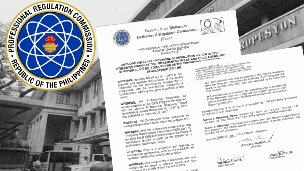 New IRR for CPD Law signed and official, effective by March 1, 2019