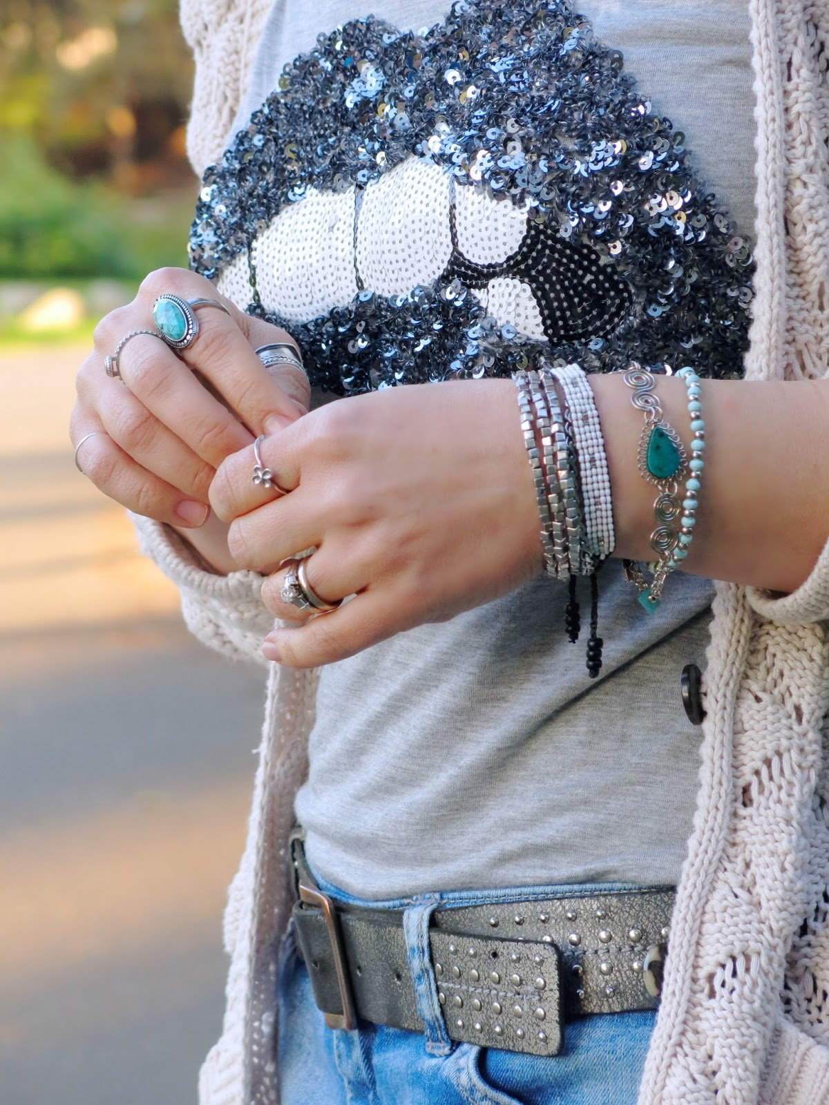 sequinned lip t-shirt and accessories