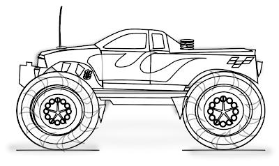 Gambar mewarnai monster truck - 4