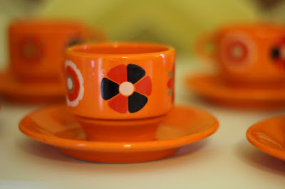 Vintage Orange 1970s Cups and Saucers
