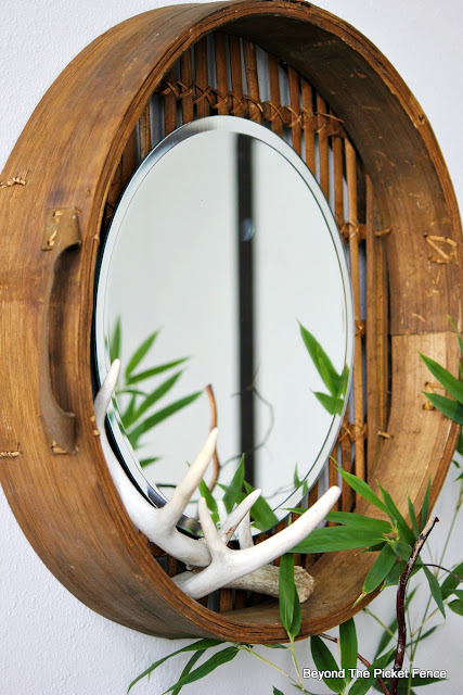upcycled, mirror, repurposed, DIY, bamboo basket, antlers, http://bec4-beyondthepicketfence.blogspot.com/2015/10/round-basket-mirror.html