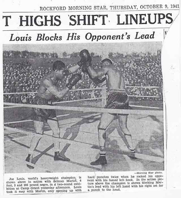 Joe Louis exhibition featured in Rockford Morning Star 9 October 1941 worldwartwo.filminspector.com