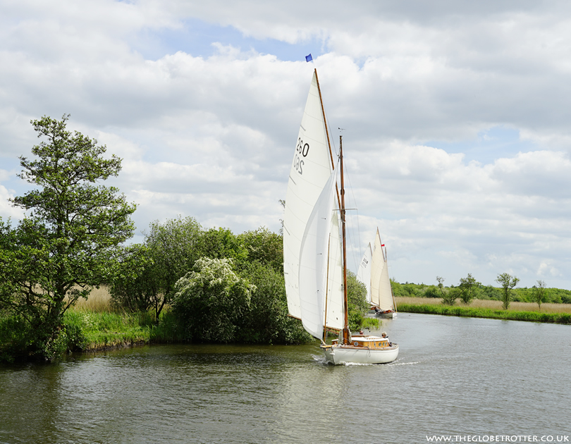 Sailing yachts on the Norfolk Broads