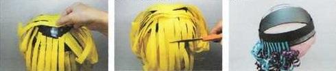 Peluca casera de payaso hecha con cinta de papel