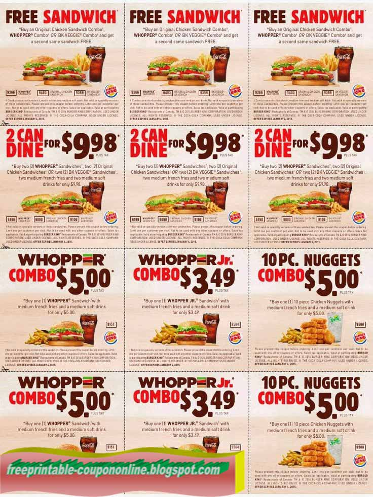 Burger King is an American fast food restaurant, famous for it's Whopper burgers. Find promo codes, coupons and printable offers for one of the biggest fast food chains in the world. Get deals on free Whoppers, buy one get one free offers, special menu items and more.