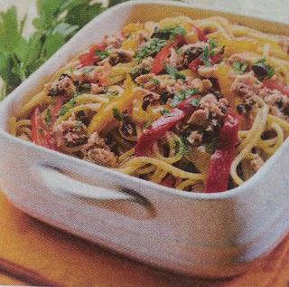 Spaghetti con tonno e peperoni