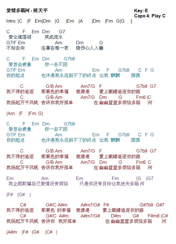 Guitar guitar chords qing tian : Xiong Ai - JungleKey.cn 图片