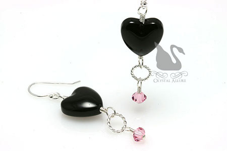 Onyx Heart Loss of Sister Awareness Earrings (E263-LP)