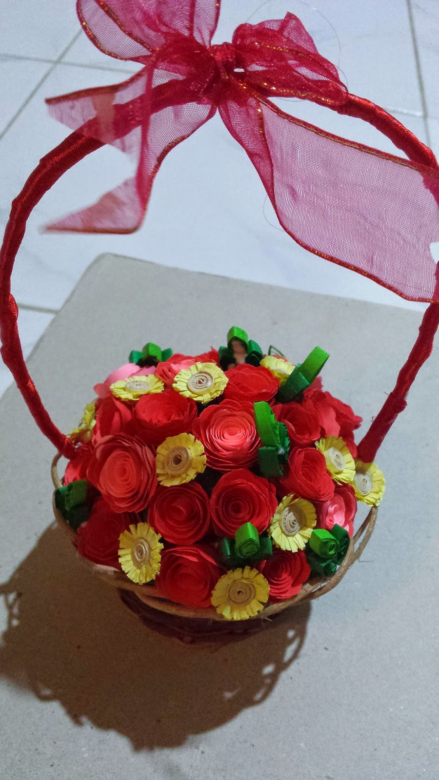 Paper Quilling By Sheri Flower Basket With Bi Color Roses