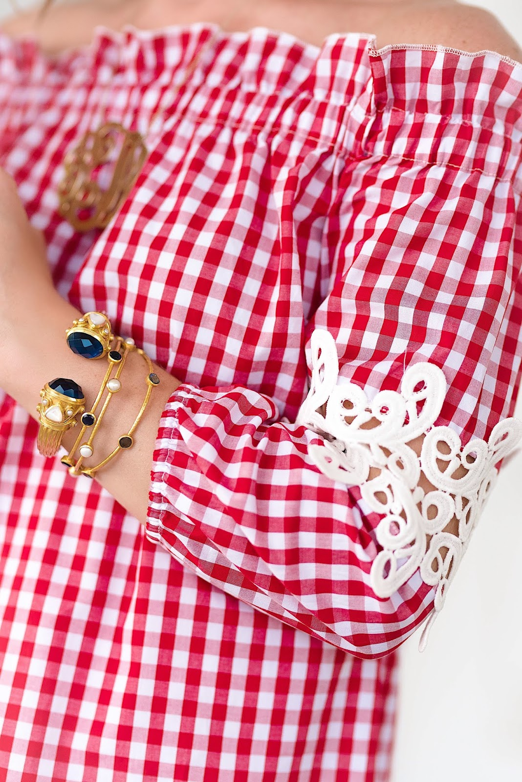 Under $50 Red Gingham Dress + Julie Vos Accessories - Something Delightful Blog