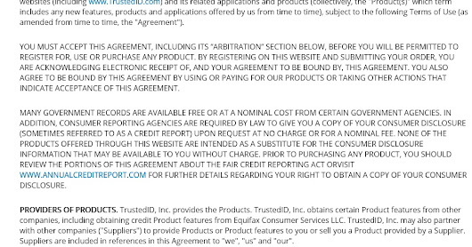 A Note About TrustedID Premier (Equifax ID Monitoring Service) Terms of Use