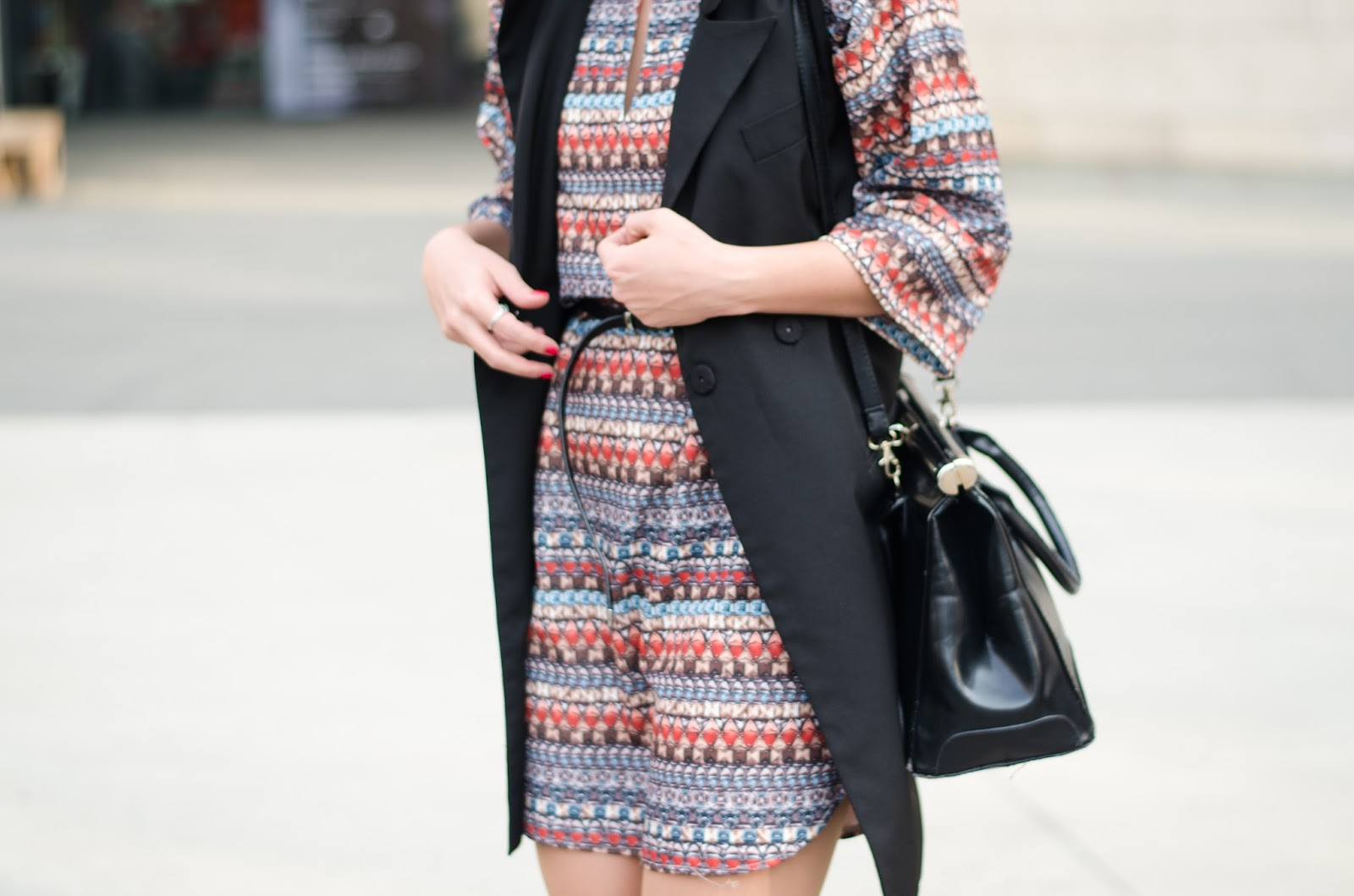 Boho pattern dress, black vest, laced up high heels