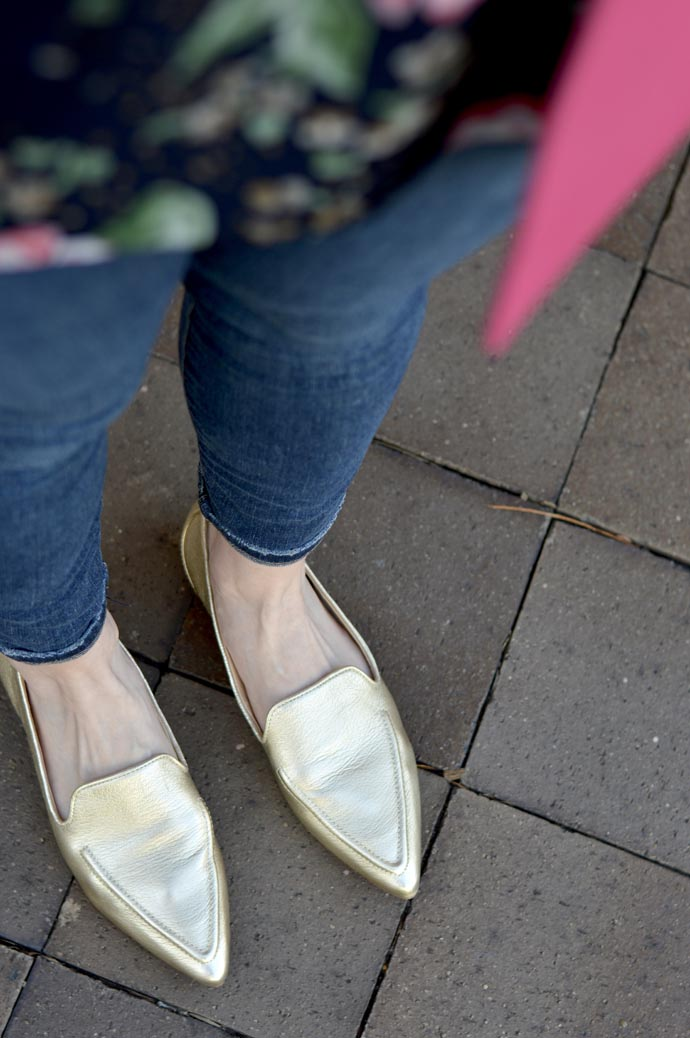 gold pointed toe flats outfit