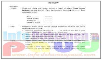 Contoh SK Perpanjangan Guru dan Operator Sekolah