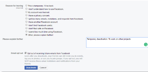 How to Deactivate Facebook Account Link