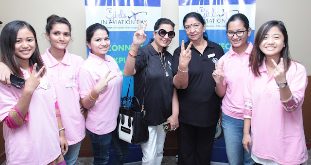 Radha Bhatia, Chairperson Bird Group and President WAI ( India Chapter ) and Neelam Pratap Rudy Vice President Women in Aviation International ( WAI ) India Chapter at the event Girls in Aviation Day