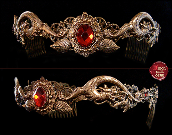 couronne dragon de feu rouge rubis crown circlet bronze red ruby medieval renaissance jewelry game of thrones daenerys targaryen
