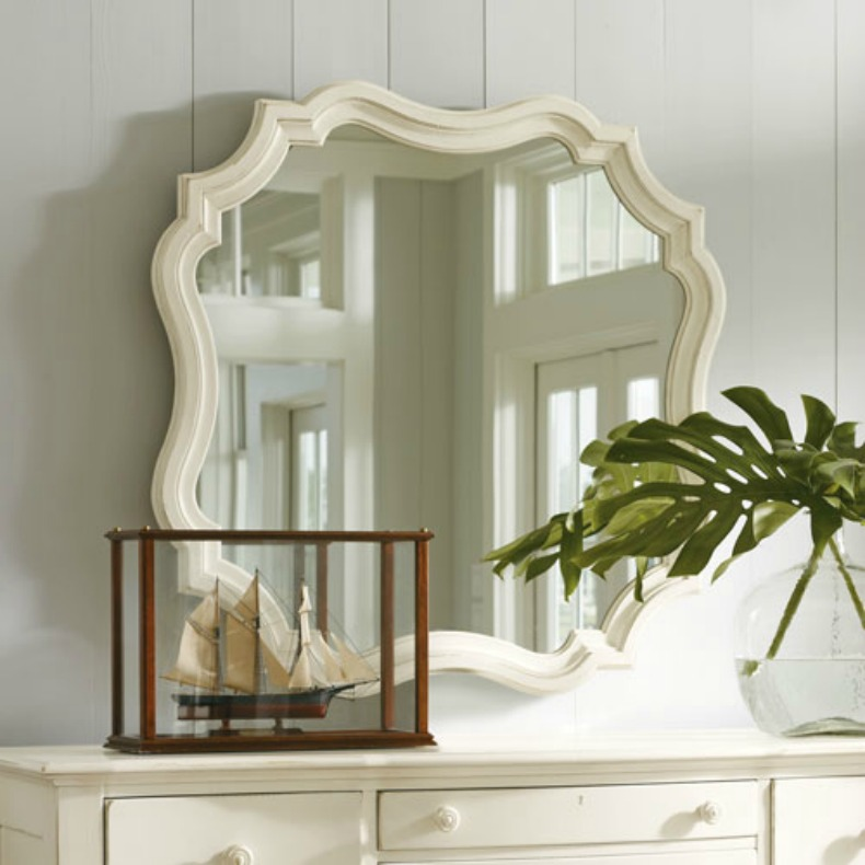 Coastal white mirror over chest
