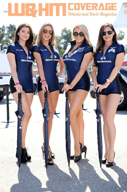 The stunning leggy Worthouse girls, Kirsten Nicholson, Vanessa Russi, and  our cover model Christina Riordan and Jessica Diane in sexy blue Worthouse uniform