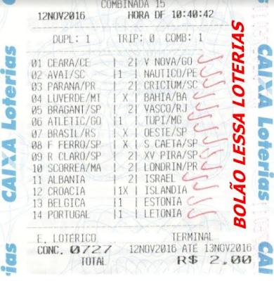 LOTECA 727 - 14 PONTOS DO LESSA LOTERIAS