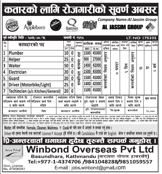 Jobs in Qatar for Nepali, Salary Rs 45,000