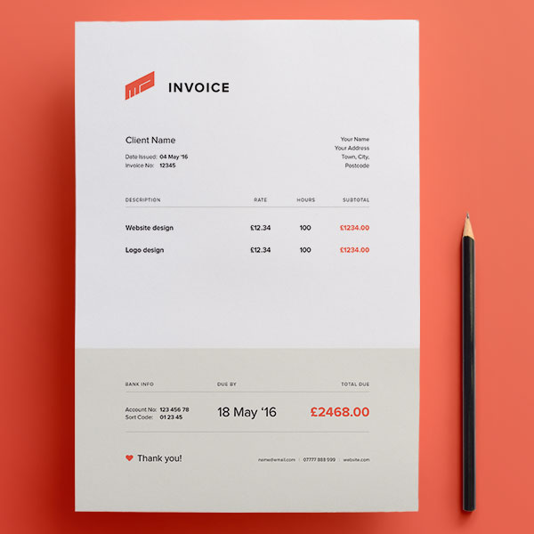 Template Invoice Gratis - Free Invoice Template PSD